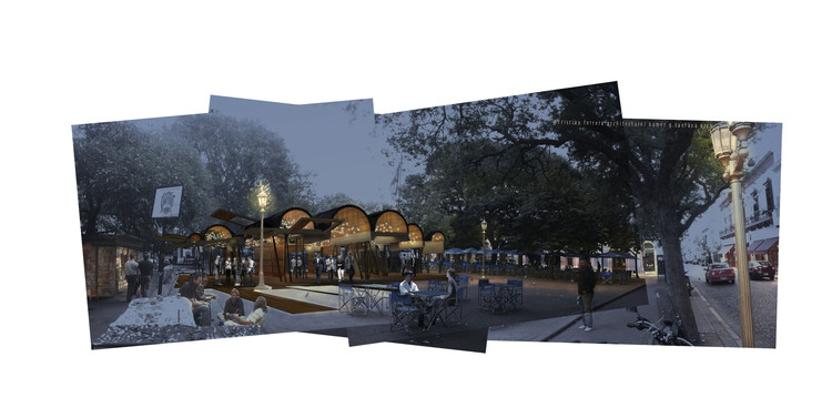 Cristián Ferrera Architecture y Homer García Santana conceptualizan cubierta paramétrica multipropósito, Vista nocturna. Image Cortesía de Cristián Ferrera Architecture + Homer García Santana
