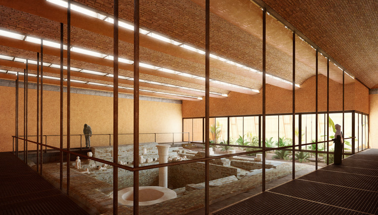 Kéré Architecture to Design Protective Shelter for Meroe Royal Baths in Sudan, Rendered Interior View. Image Courtesy of Kéré Architecture