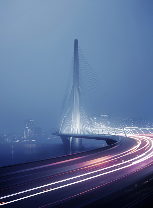 © Danjiang Bridge por Zaha Hadid Architects, render por MIR