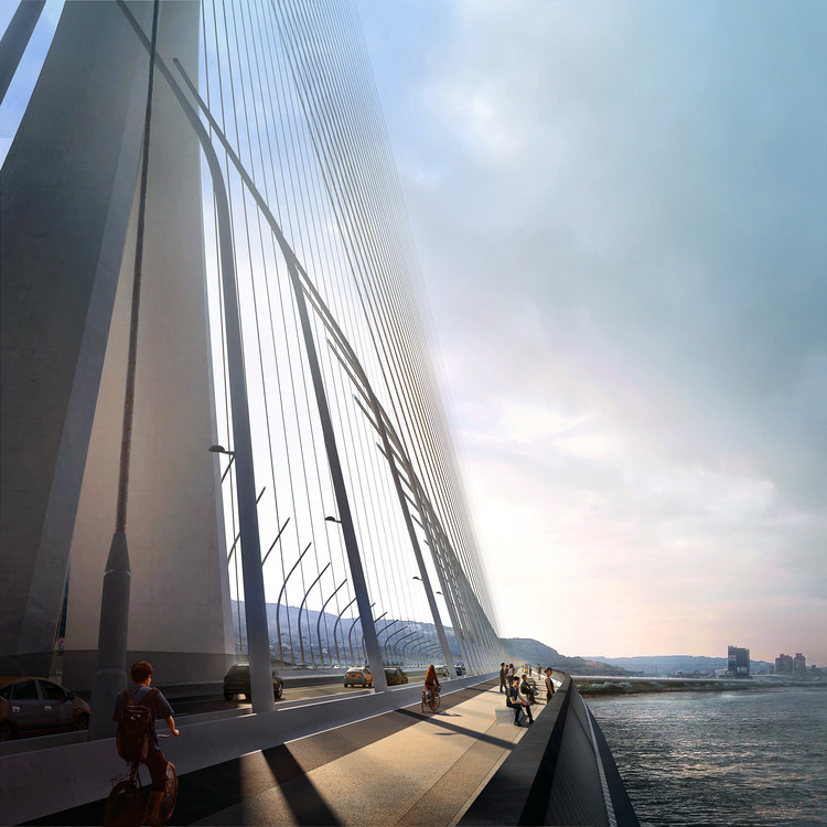 © Danjiang Bridge por Zaha Hadid Architects, render por VisualArch