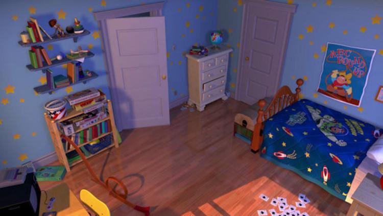 La habitación de Andy en Toy Story cambia a medida que sus intereses se alejan de Woody y hacia Buzz. Imagen © Pixar