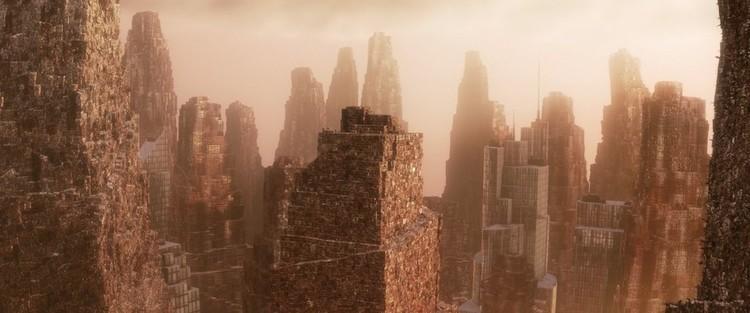 En la película Wall-E, rascacielos de residuos dominan el horizonte en un mundo demasiado dañado para sostener la vida humana. Imagen © Pixar