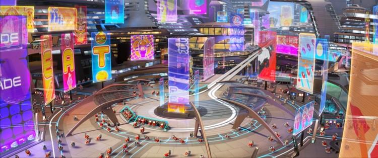 Wall-E muestra un ejemplo de un entorno sobrediseñado en el interior de la nave espacial. Cuando todo está pensado, ¿qué habitación está para la creatividad? Imagen © Pixar