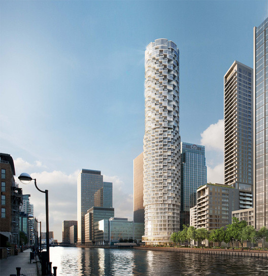 Herzog & de Meuron's recently approved Canary Wharf development in London. Image © Canary Wharf Group plc