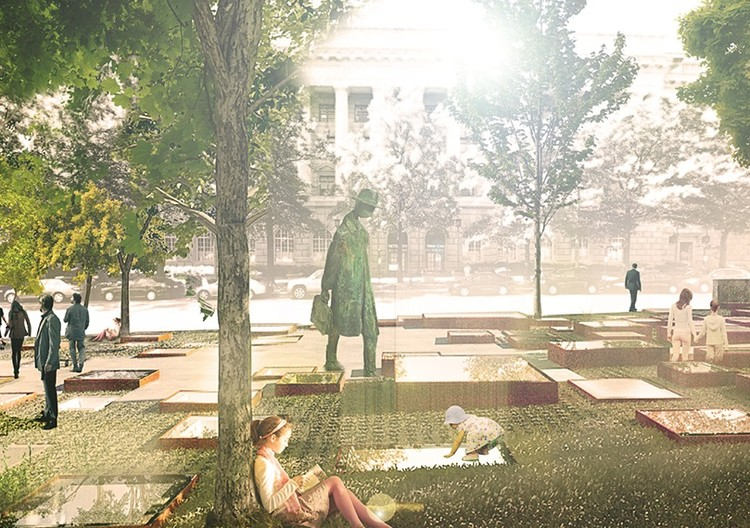 """World War I Memorial Competition Finalists Announced , One of the five finalists: """"An American Family Portrait"""" by STL Architects, Chicago. Image Courtesy of The US World War I Centennial Commission"""