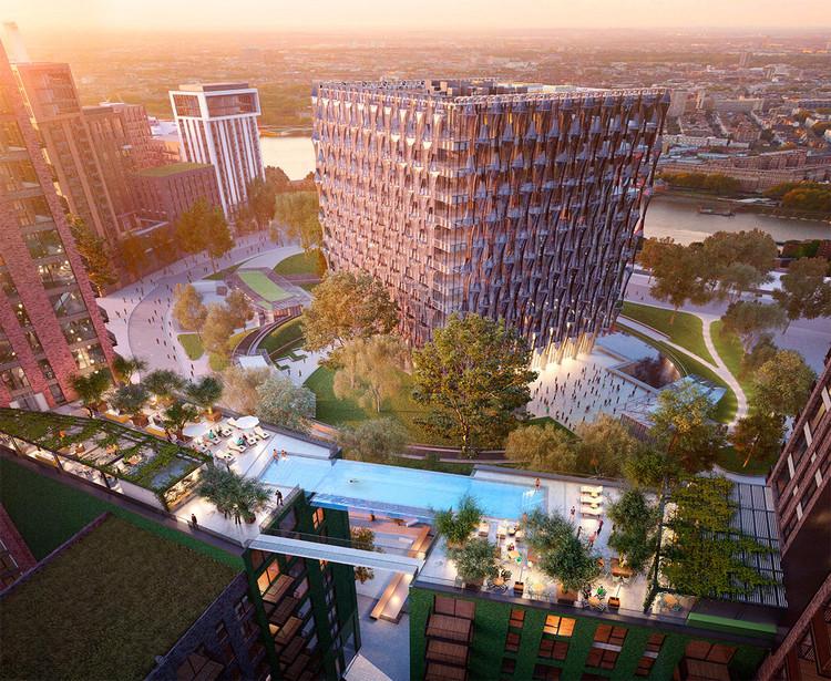 Vista del 'Sky Pool', con la nueva embajada de Estados Unidos de fondo. Imagen © Hayes Davidson
