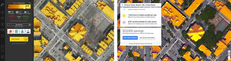 Boston, Massachusetts. Left: Mapdwell. Right: Google Sunroof