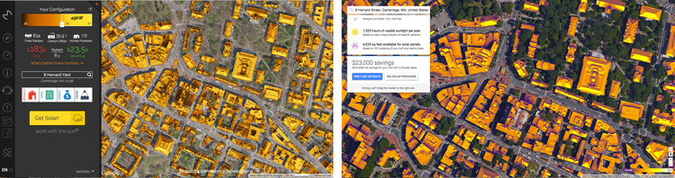Cambridge, Massachusetts. Left: Mapdwell. Right: Google Sunroof