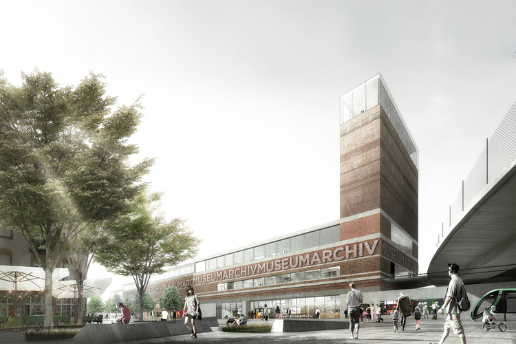 EM2N to Build Basel's New Museum of Natural History and State Archives , View from Vogesenplatz. Image © EM2N; Render by Luxigon