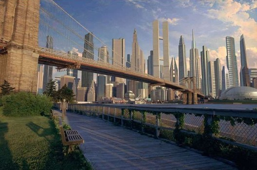 As a scientist and science fiction writer, Asimov knew a little about creativity and planning the future. Here, a screenshot from the 1999 film Bicentennial Man (based on Asimov's 1976 book) showing Manhattan in 2075. Image via Skyscraper City