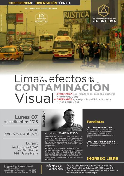 """Conferencia de orientación técnica """"Lima y los efectos de la contaminación visual"""", vía Colegio de Arquitectos del Perú Regional Lima"""