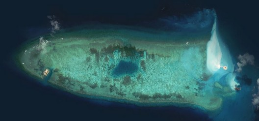 A reef in August 2014. Image Courtesy of DigitalGlobe, via the CSIS Asia Maritime Transparency Initiative, and CNES, via Airbus DS and IHS Jane's (via The New York Times)