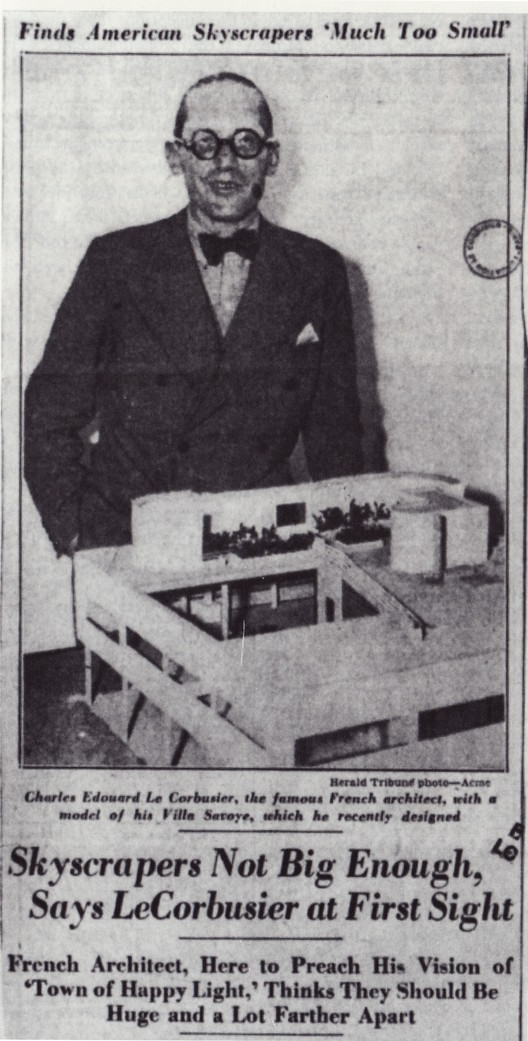 Le Corbusier made headlines in The New York Herald Tribune upon arriving to the USA.