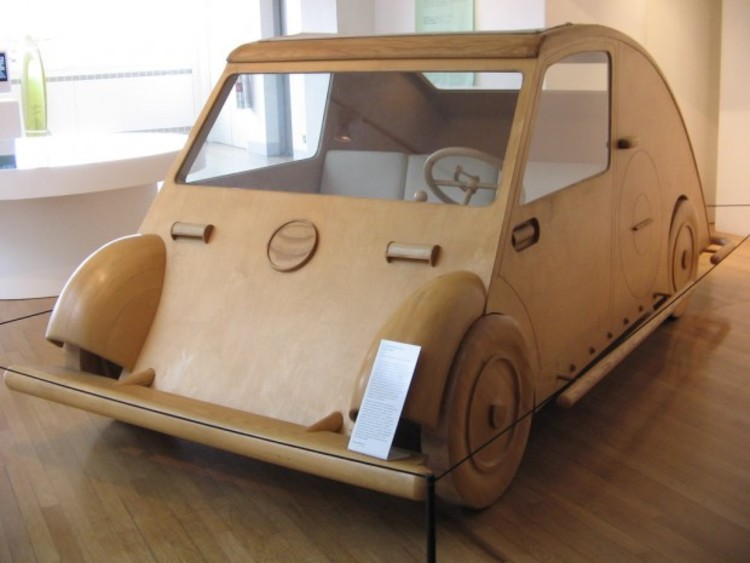 "A full-scale model of Le Corbusier's ""Voiture Maximum."""