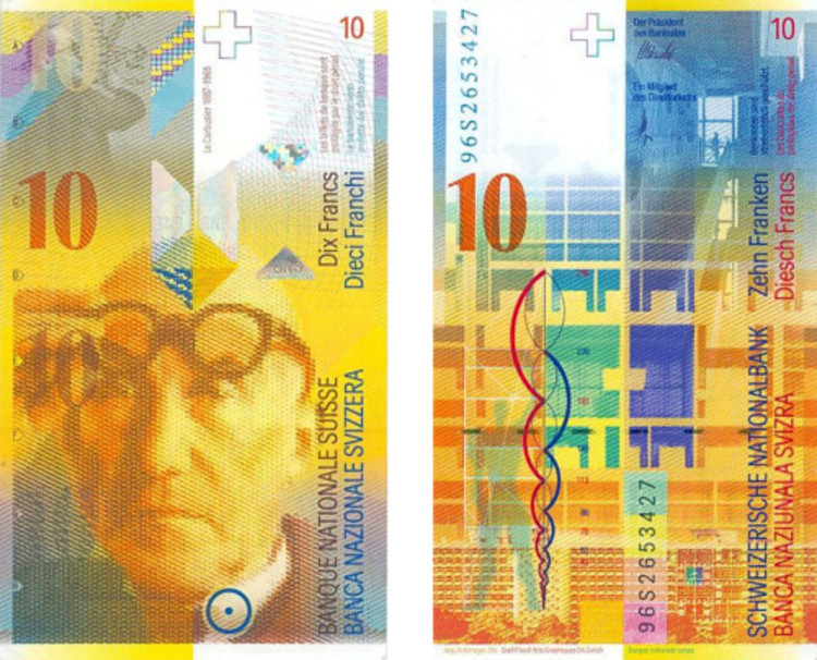 Le Corbusier and his architecture is featured on a Swiss francs banknote. Via archiveofaffinities.tumblr.com