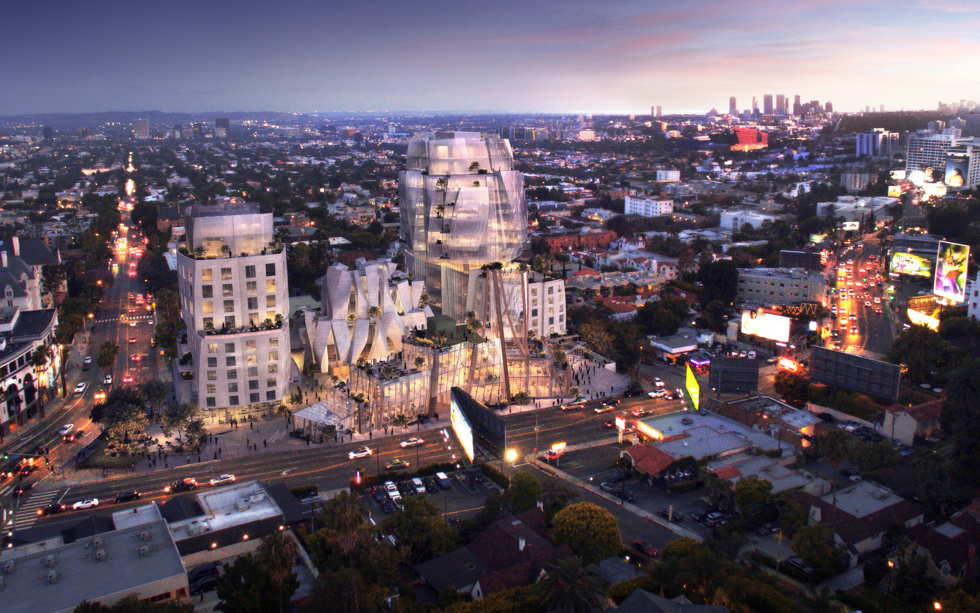 Images revealed of frank gehry 39 s gateway to sunset strip - Architecture interieurs contemporains sunset strip ...