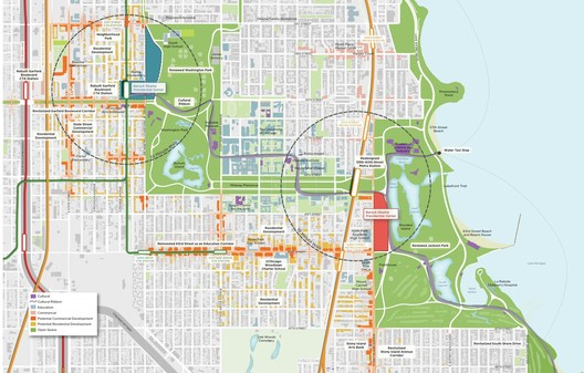 Sites under consideration for the Barack Obama Presidential Center. Image © OPLSouthSide.org