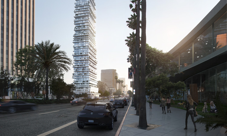 PAR Reinterprets Courtyard Housing with Los Angeles Skyscraper , View from LACMA. Image Courtesy of PAR