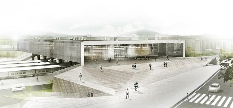 Propuesta de Herreros Arquitectos y Rubio & Álvarez Sala para la Estación Intermodal de Santiago de Compostela. Concurso Internacional por invitación. Proyecto mejor puntuado.