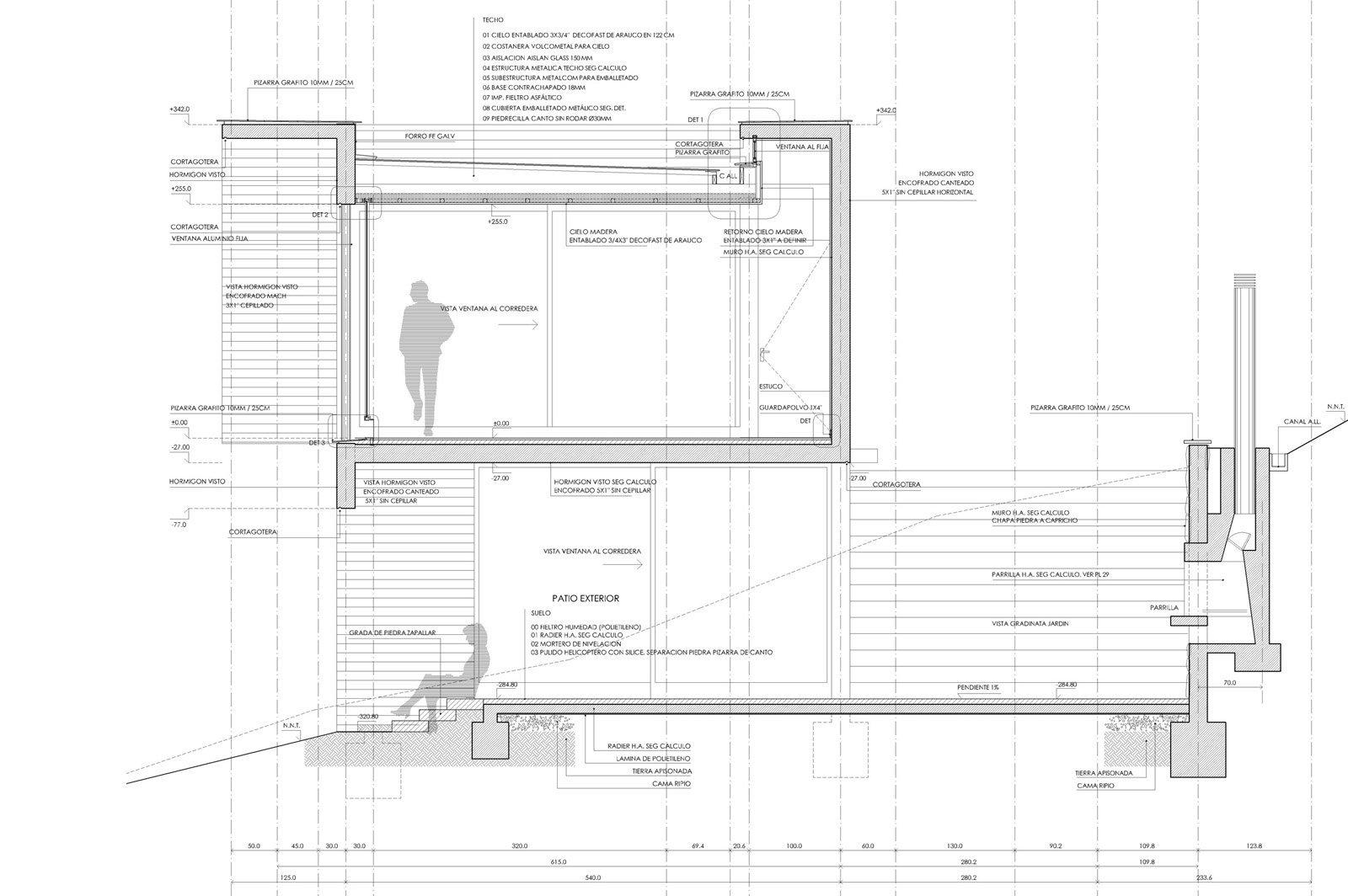 Galer a de en detalle cortes constructivos hormig n 7 - Detalle constructivo techo ...