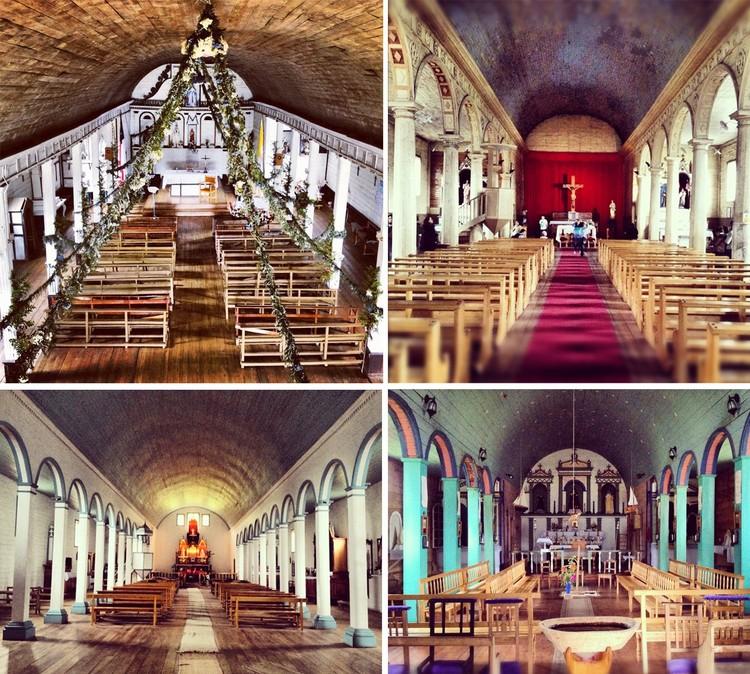 inetriores iglesias de: Puqueldón, Dalcahue, Tenaún y Colo