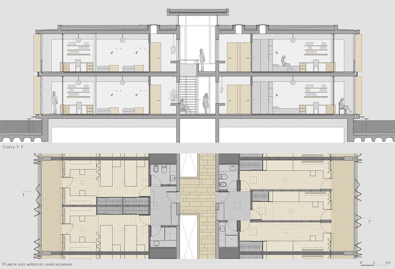 Galer a de ganador concurso secil centro multifuncional y for Residencia para estudiantes