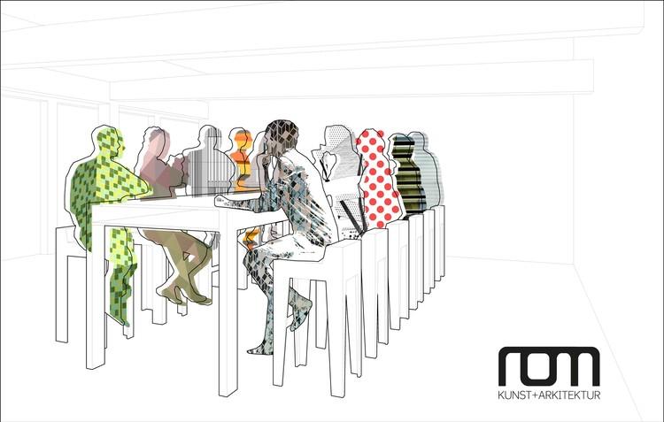 Ilustración The Banquet, exposición sobre Herreros Arquitectos en la Galería ROM for Kunst og Arkitektur, Oslo