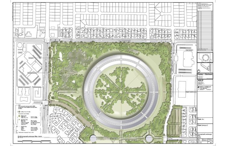 Planta paisajismo propuesto zona norte ©  Foster + Partners, ARUP, Kier & Wright, Apple