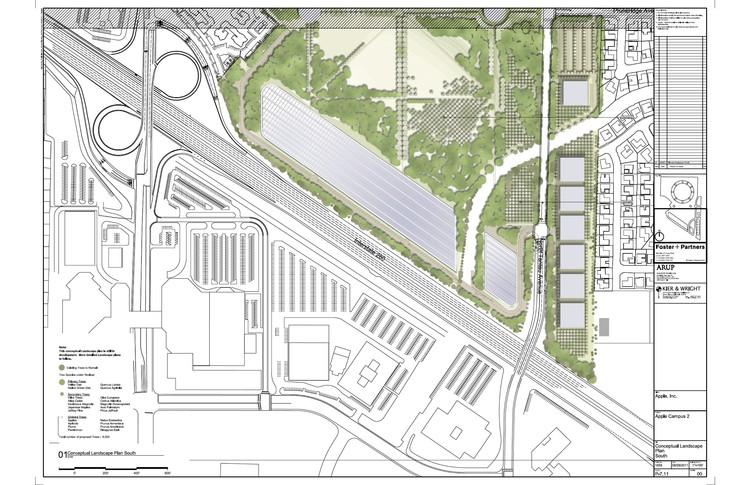 Planta paisajismo propuesto zona sur ©  Foster + Partners, ARUP, Kier & Wright, Apple