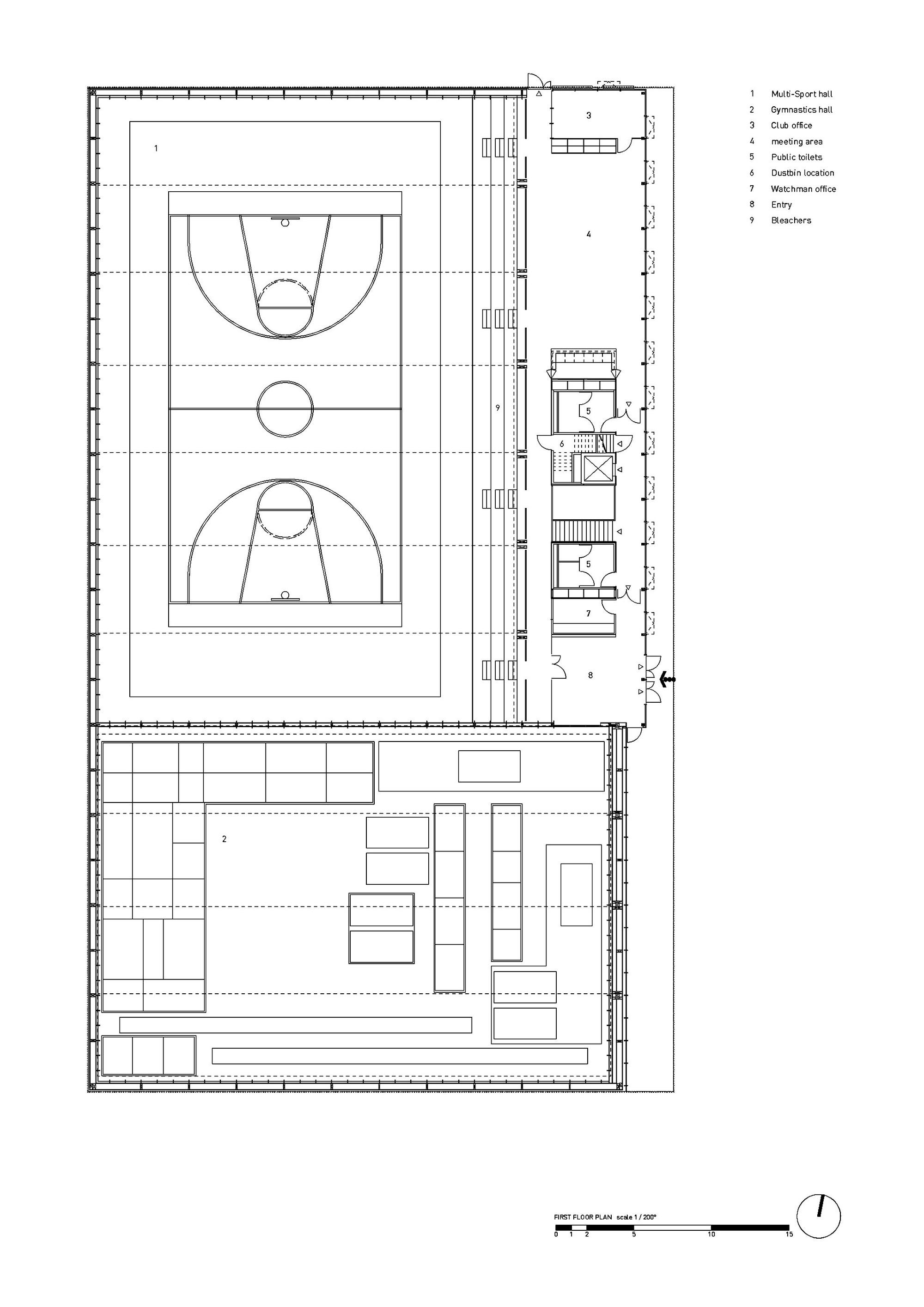 Gallery of hacine cherifi gymnasium tectoniques for Gym floor plans