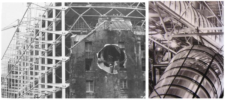 La perforación de Conical Intersect y el edificio Pompidou en construcción, atrás Fachada del edificio Centre Pompidou
