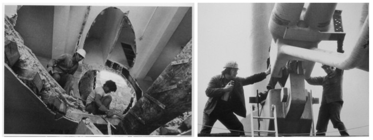Matta-Clark trabajando en Conical Intersect, 1971 - Obreros en contrucción Centre Pompidou