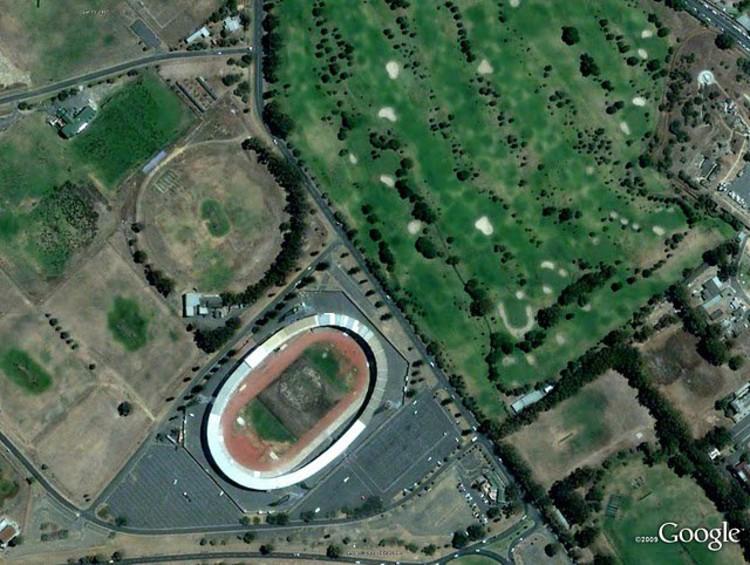 Green Point Stadium, Cape Town. Image © GeoEye, Google.