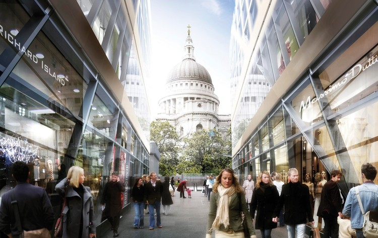 Mixed-use & overwall winner: One New Change, London, UK designed by Ateliers Jean Nouvel and Sidell Gibson Architects- St Pauls view