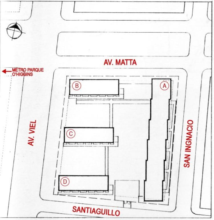 Planta Conjunto Matta Viel con indicación de Bloques del Conjunto, Intervención sobre plano de Revista Ca Número 58, Santiago Chile, (abril/ may/ jun 1942) (c) Gonzalez, Puig