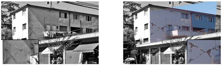 Comparación fotográfica grietas terremotos de 1985 y del 2010