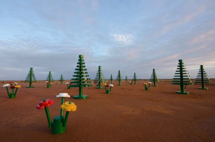 """LEGO Forest"" is an art installation that has been set up in a small, isolated mining town called Broken Hill, in celebration of the 50th anniversary of LEGO in Australia."