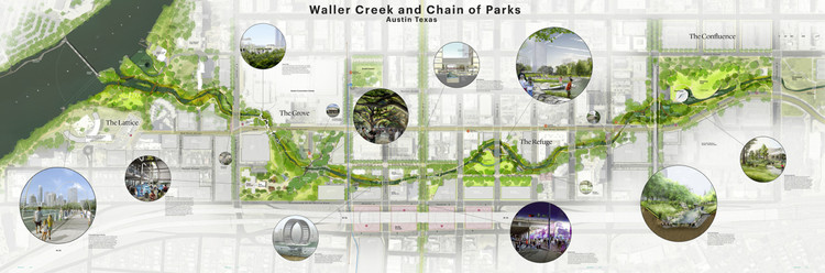 "Waller Creek ""Chain of Parks"" © MVVA and Thomas Phifer"
