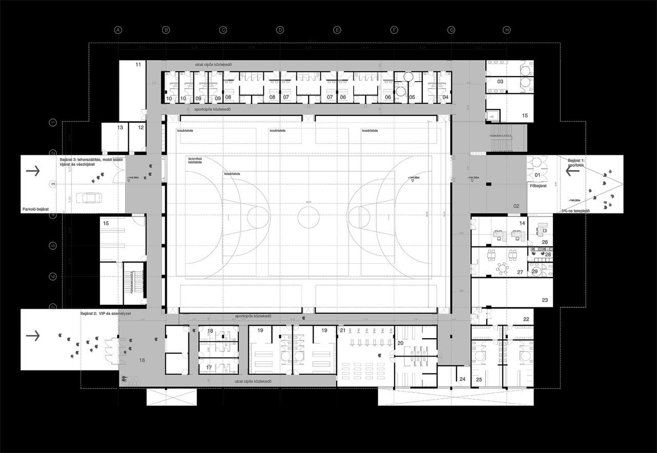 Architectural Plan Gallery Of Multi Purpose Sports Hall Competition Entry
