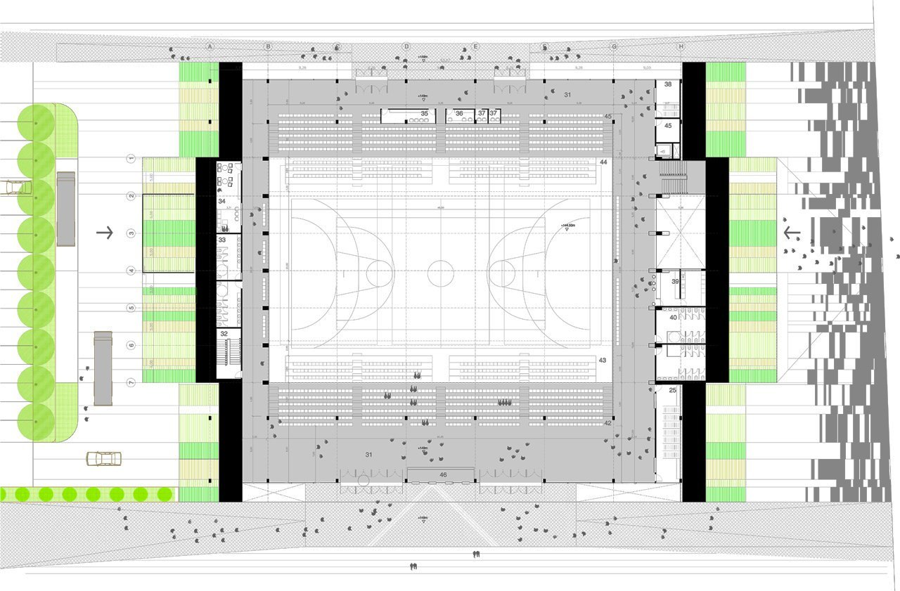 Gallery of multi purpose sports hall competition entry for Multi purpose building plans