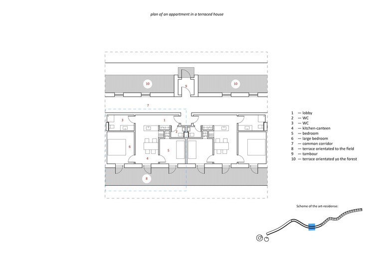 apartment in a terraced house plan