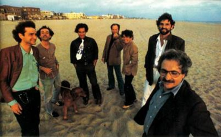 Seven of the architects who participated in The Architecture Gallery, from left to right: Frederick Fisher, Robert Mangurian, Eric Owen Moss, Coy Howard, Craig Hodgetts, Thom Mayne, Frank Gehry. Photograph ©1980 Ave Pildas.