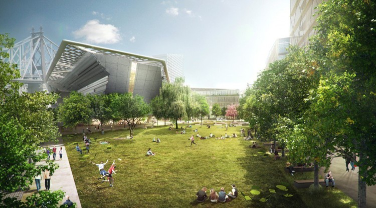 The central campus esplanade with large open space, a key feature of the proposed campus plan. © Kilograph