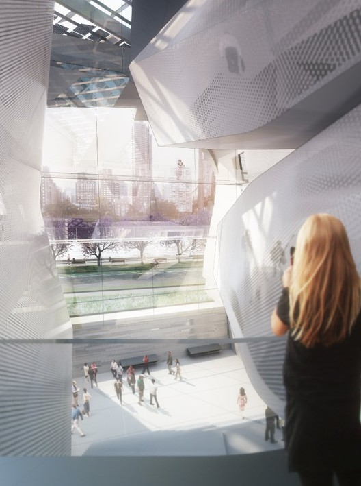 A rendering of the interior of the first academic building, with views across the East River and down 57th Street in Manhattan. © Morphosis