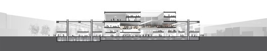Section showing the integration of the central block overlooking the LabCity - Image courtesy of OMA