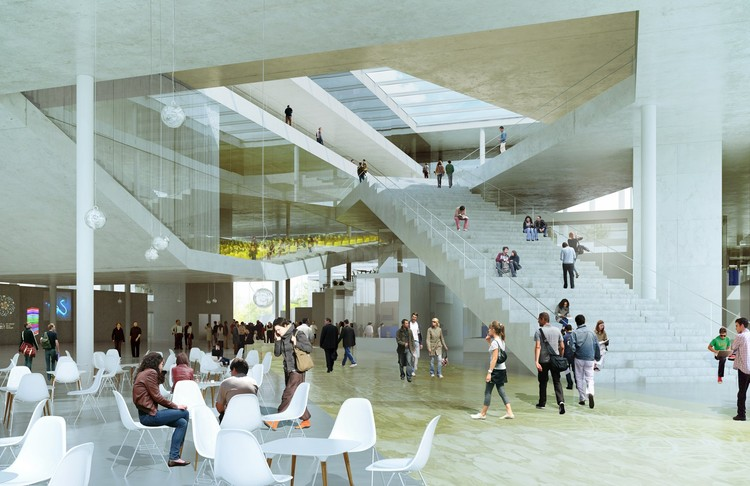 The central block and the social areas - Image courtesy of OMA