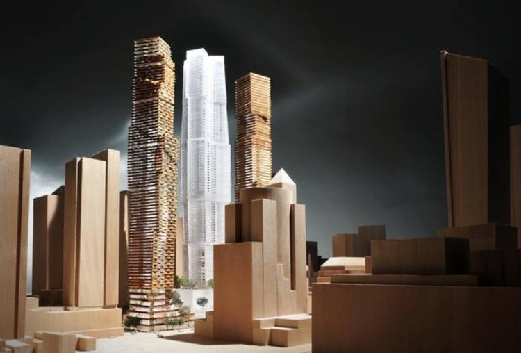 View form the southwest, Courtesy of Gehry International Inc.