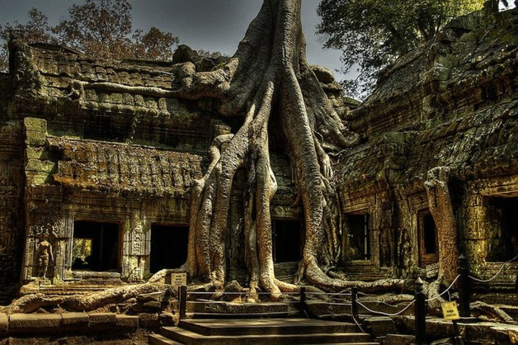 Ruins in Angkor, Wat. Photo 'Cambodia' via Flickr CC User Macorig Paolo. Used under <a href='https://creativecommons.org/licenses/by-sa/2.0/'>Creative Commons</a>