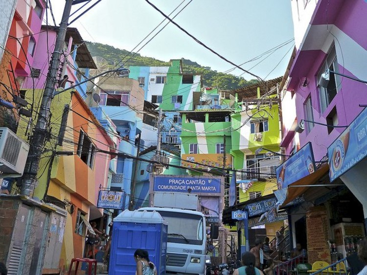 Santa Marta Favela in Rio de Janeiro. Photo via Flickr CC User alobos flickr.