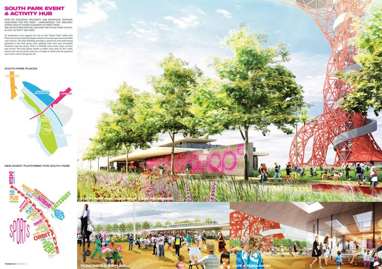 Design Teams Announced to create New Public Spaces for London's Olympic Park, South Plaza Proposal via Olympic Park Legacy Company